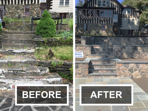 Before and After Pavers and Decorative Stone Walls