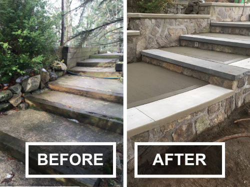 Before and After Cement Stairs with Wood Trim
