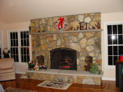 fireplace chimney stone